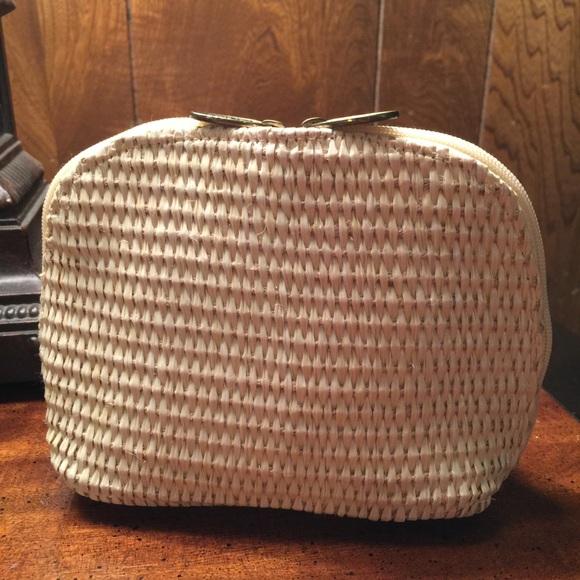 efae9849bd8 CD Christian Dior summer raffia straw cosmetic bag. Boutique